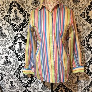 (NWOT) Foxcroft Button Down Colorful Stripe Top